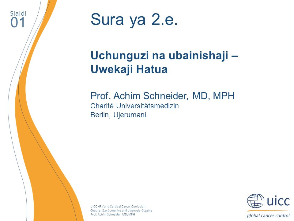 UICC HPV and Cervical Cancer Curriculum Chapter 2.e. Screening and diagnosis - Staging Prof. Achim Schneider, MD, MPH Slaidi 01 Sura ya 2.e. Uchunguzi