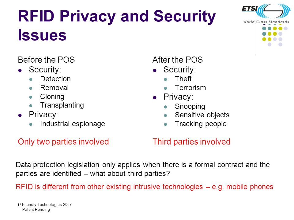 Friendly Technologies 2007 Patent Pending RFID Privacy and Security Issues Before the POS Security: Detection Removal Cloning Transplanting Privacy: I