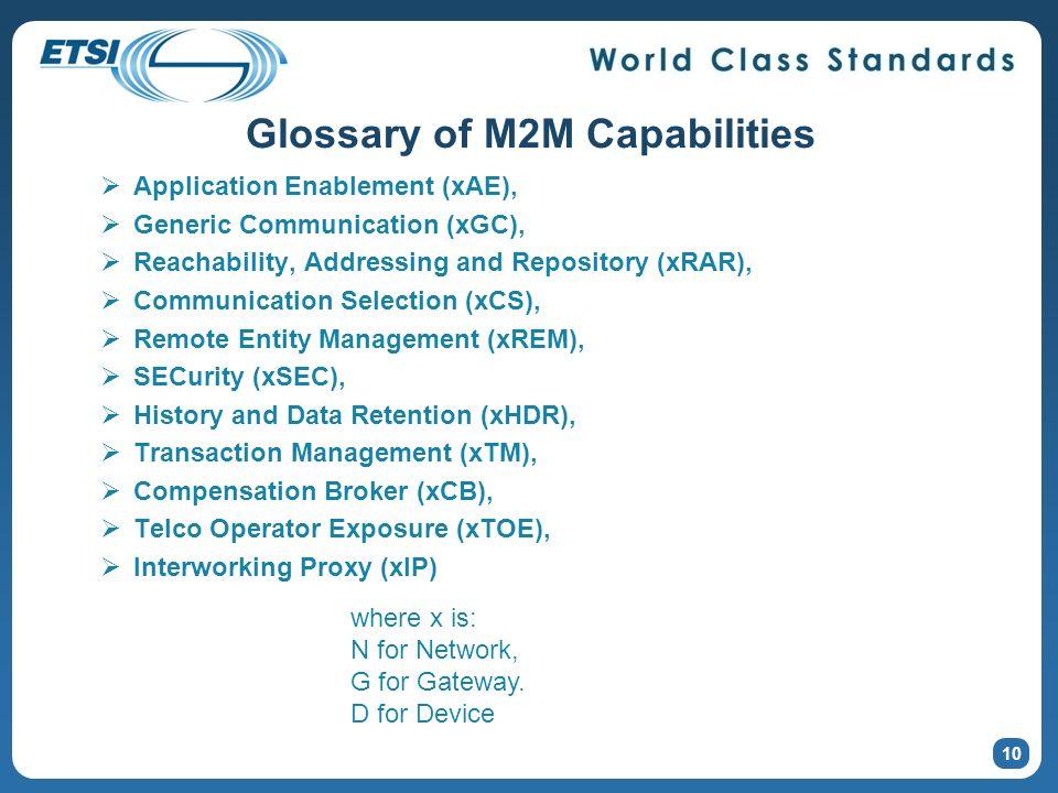 Glossary of M2M Capabilities Application Enablement (xAE), Generic Communication (xGC), Reachability, Addressing and Repository (xRAR), Communication