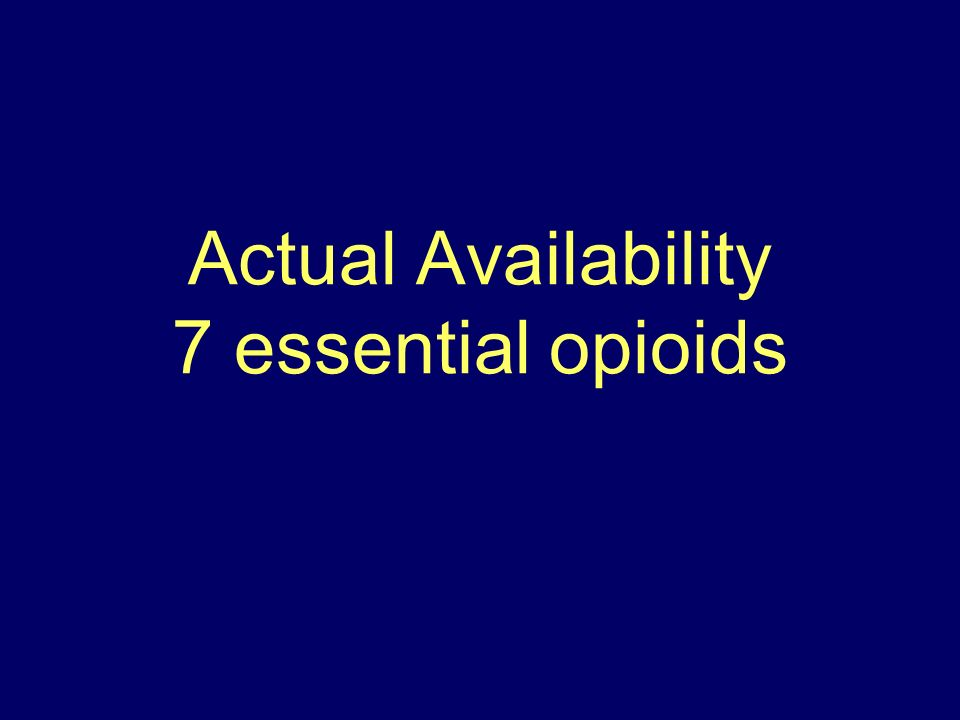 Actual Availability 7 essential opioids
