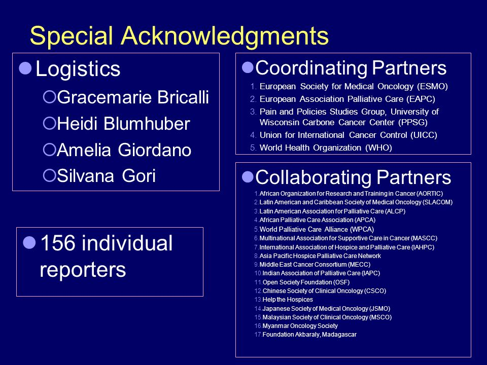 Special Acknowledgments Logistics Gracemarie Bricalli Heidi Blumhuber Amelia Giordano Silvana Gori Coordinating Partners 1.European Society for Medical Oncology (ESMO) 2.European Association Palliative Care (EAPC) 3.Pain and Policies Studies Group, University of Wisconsin Carbone Cancer Center (PPSG) 4.Union for International Cancer Control (UICC) 5.World Health Organization (WHO) 156 individual reporters Collaborating Partners 1.African Organization for Research and Training in Cancer (AORTIC) 2.Latin American and Caribbean Society of Medical Oncology (SLACOM) 3.Latin American Association for Palliative Care (ALCP) 4.African Palliative Care Association (APCA) 5.World Palliative Care Alliance (WPCA) 6.Multinational Association for Supportive Care in Cancer (MASCC) 7.International Association of Hospice and Palliative Care (IAHPC) 8.Asia Pacific Hospice Palliative Care Network 9.Middle East Cancer Consortium (MECC) 10.Indian Association of Palliative Care (IAPC) 11.Open Society Foundation (OSF) 12.Chinese Society of Clinical Oncology (CSCO) 13.Help the Hospices 14.Japanese Society of Medical Oncology (JSMO) 15.Malaysian Society of Clinical Oncology (MSCO) 16.Myanmar Oncology Society 17.Foundation Akbaraly, Madagascar