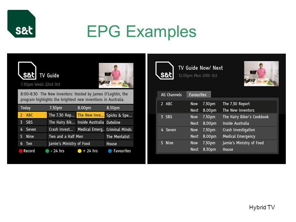 Hybrid TV EPG Examples