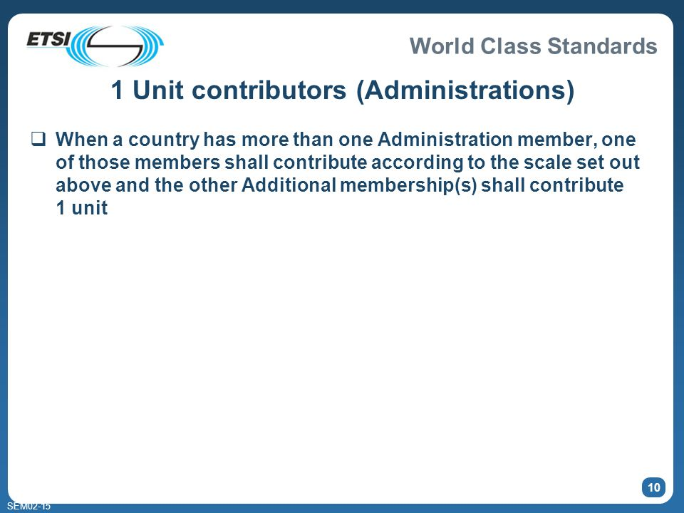 World Class Standards SEM02-15 10 1 Unit contributors (Administrations) When a country has more than one Administration member, one of those members s