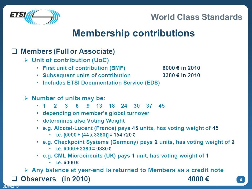 World Class Standards SEM02-15 4 Members (Full or Associate) Unit of contribution (UoC) First unit of contribution (BMF)6000 in 2010 Subsequent units