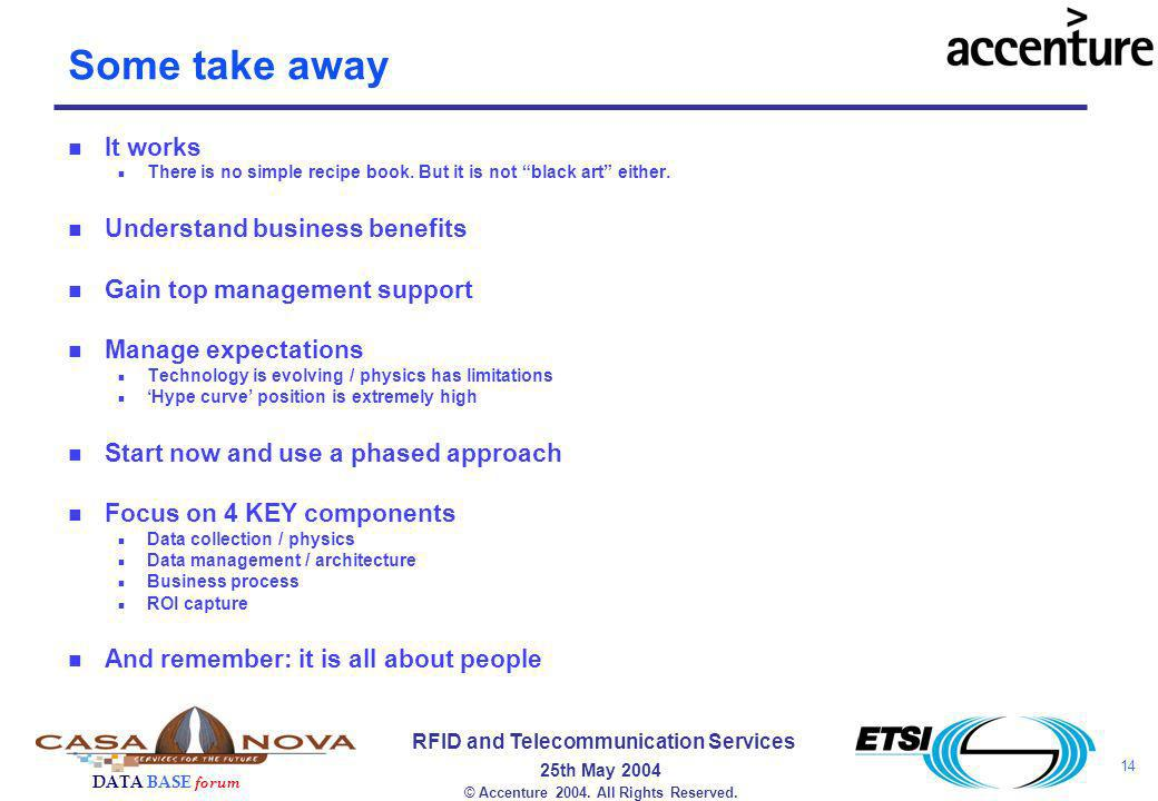14 RFID and Telecommunication Services 25th May 2004 DATA BASE forum © Accenture 2004.
