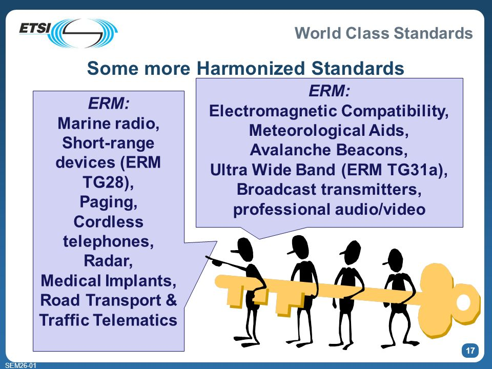 World Class Standards SEM26-01 17 ERM: Marine radio, Short-range devices (ERM TG28), Paging, Cordless telephones, Radar, Medical Implants, Road Transport & Traffic Telematics ERM: Electromagnetic Compatibility, Meteorological Aids, Avalanche Beacons, Ultra Wide Band (ERM TG31a), Broadcast transmitters, professional audio/video Some more Harmonized Standards