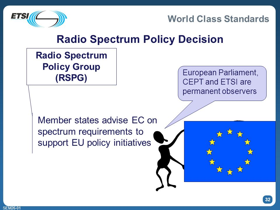 World Class Standards SEM26-01 32 Radio Spectrum Policy Decision Radio Spectrum Policy Group (RSPG) Member states advise EC on spectrum requirements to support EU policy initiatives European Parliament, CEPT and ETSI are permanent observers