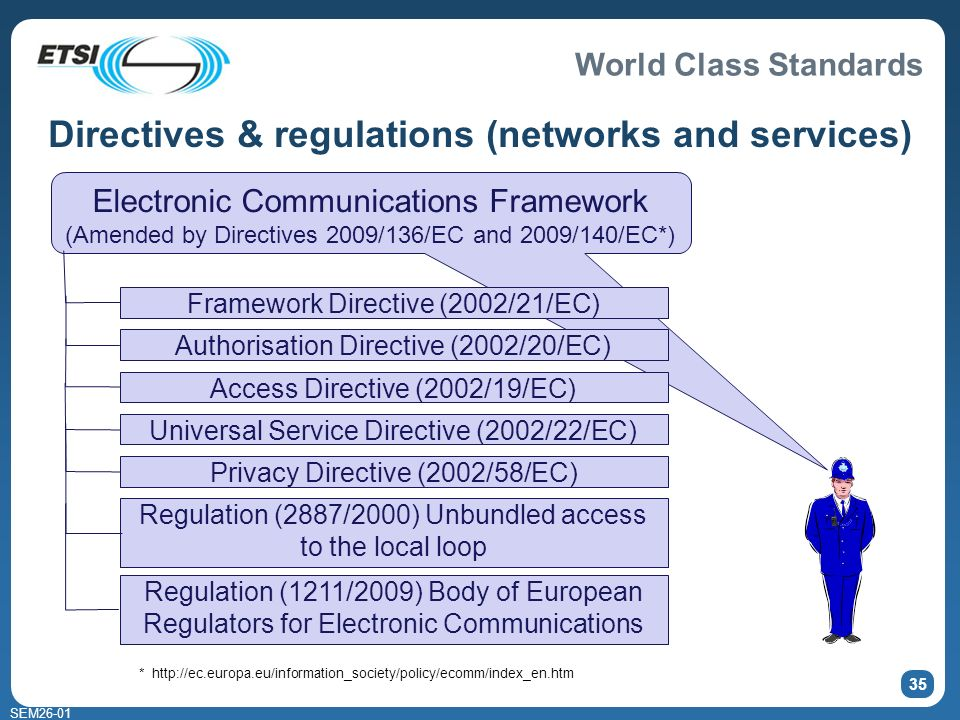 World Class Standards SEM26-01 Electronic Communications Framework (Amended by Directives 2009/136/EC and 2009/140/EC*) 35 Directives & regulations (n