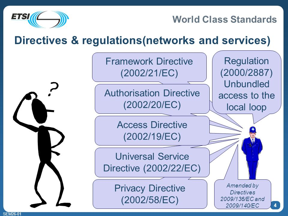 World Class Standards SEM26-01 4 Directives & regulations(networks and services) Framework Directive (2002/21/EC) Authorisation Directive (2002/20/EC) Privacy Directive (2002/58/EC) Universal Service Directive (2002/22/EC) Regulation (2000/2887) Unbundled access to the local loop Access Directive (2002/19/EC) Amended by Directives 2009/136/EC and 2009/140/EC