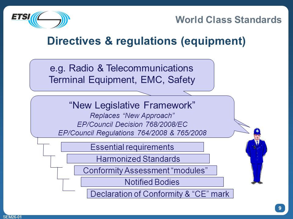 World Class Standards SEM26-01 9 Directives & regulations (equipment) e.g.