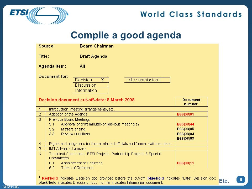 SEM11-06 5 Compile a good agenda AGENDA 1. Bla bla bla 2.