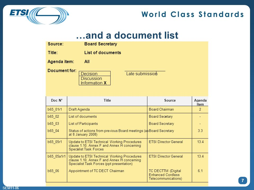 SEM11-06 7 …and a document list