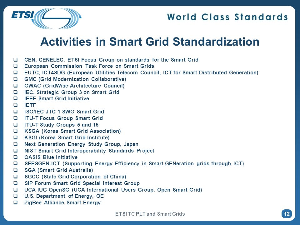 Activities in Smart Grid Standardization CEN, CENELEC, ETSI Focus Group on standards for the Smart Grid European Commission Task Force on Smart Grids