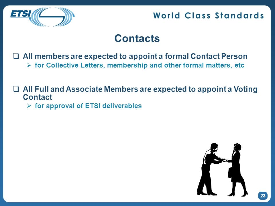 23 Contacts All members are expected to appoint a formal Contact Person for Collective Letters, membership and other formal matters, etc All Full and