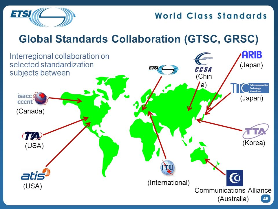 46 Global Standards Collaboration (GTSC, GRSC) Interregional collaboration on selected standardization subjects between (Canada) (USA) (International) (Japan) (Korea) Communications Alliance (Australia) (Japan) (Chin a)