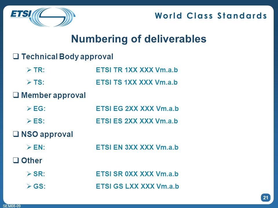 SEM08-09 Numbering of deliverables Technical Body approval TR:ETSI TR 1XX XXX Vm.a.b TS:ETSI TS 1XX XXX Vm.a.b Member approval EG:ETSI EG 2XX XXX Vm.a.b ES:ETSI ES 2XX XXX Vm.a.b NSO approval EN:ETSI EN 3XX XXX Vm.a.b Other SR:ETSI SR 0XX XXX Vm.a.b GS:ETSI GS LXX XXX Vm.a.b 21