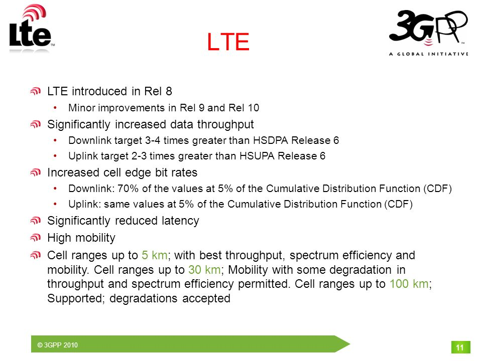 © 3GPP 2010 11 LTE LTE introduced in Rel 8 Minor improvements in Rel 9 and Rel 10 Significantly increased data throughput Downlink target 3-4 times gr