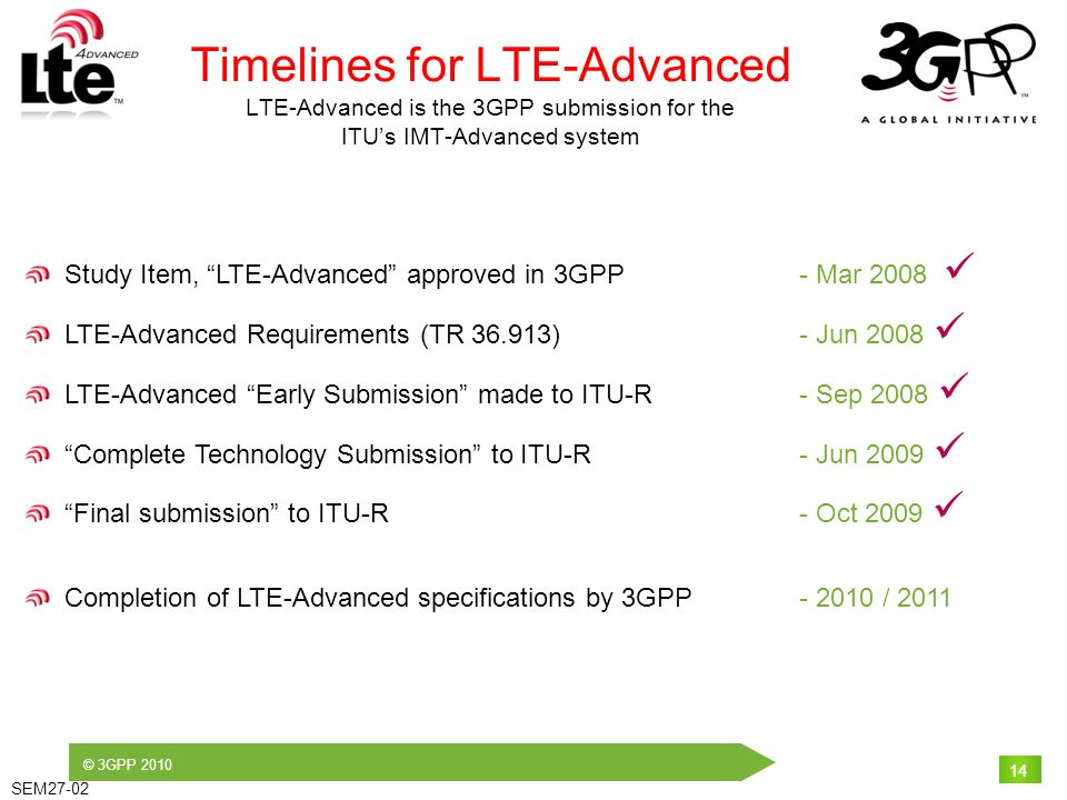 © 3GPP 2010 SEM27-02 14 Timelines for LTE-Advanced LTE-Advanced is the 3GPP submission for the ITUs IMT-Advanced system Study Item, LTE-Advanced appro