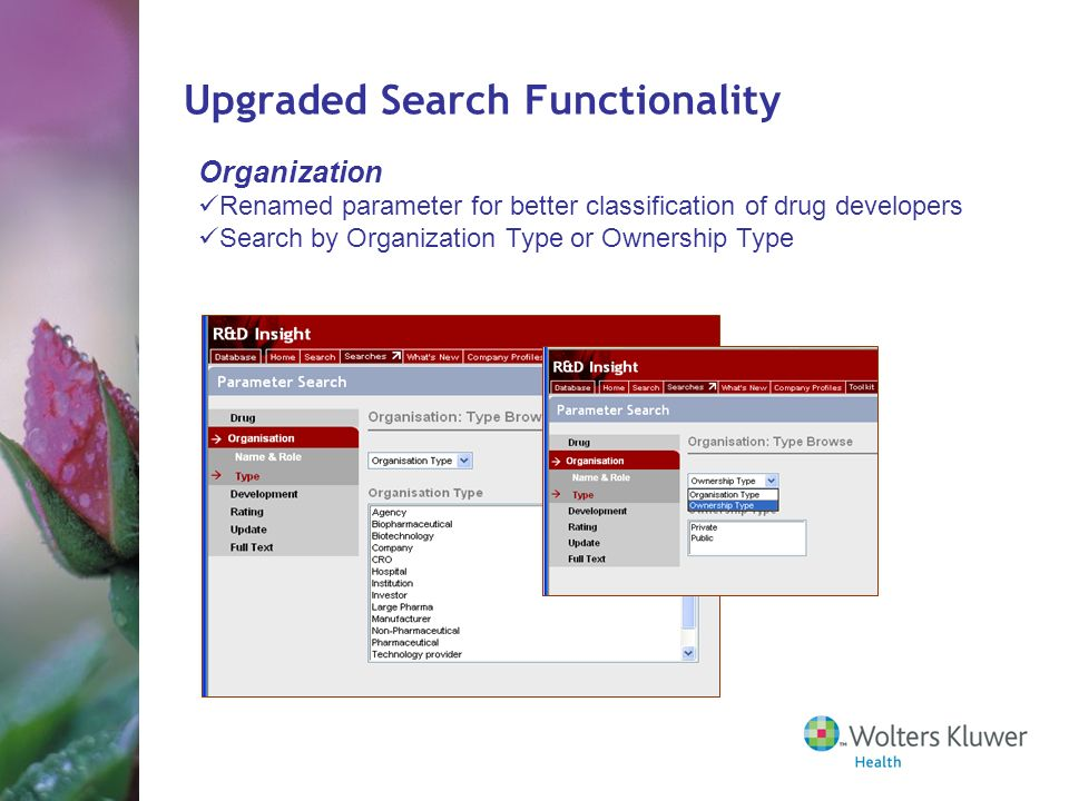 Organization Renamed parameter for better classification of drug developers Search by Organization Type or Ownership Type