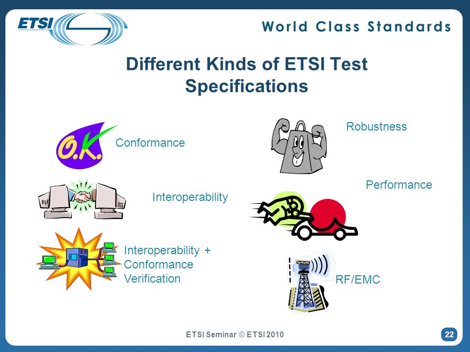 Different Kinds of ETSI Test Specifications Conformance Robustness Performance Interoperability Interoperability + Conformance Verification RF/EMC 22