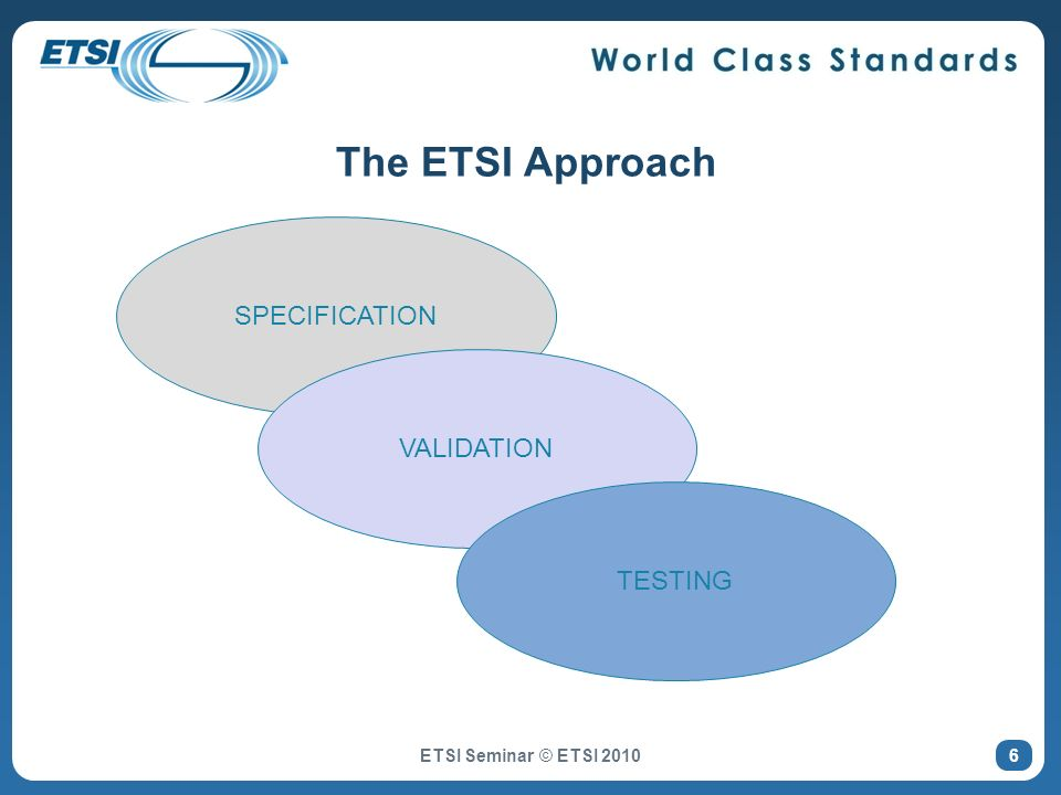 The ETSI Approach ETSI Seminar © ETSI 2010 SPECIFICATION VALIDATION TESTING 6