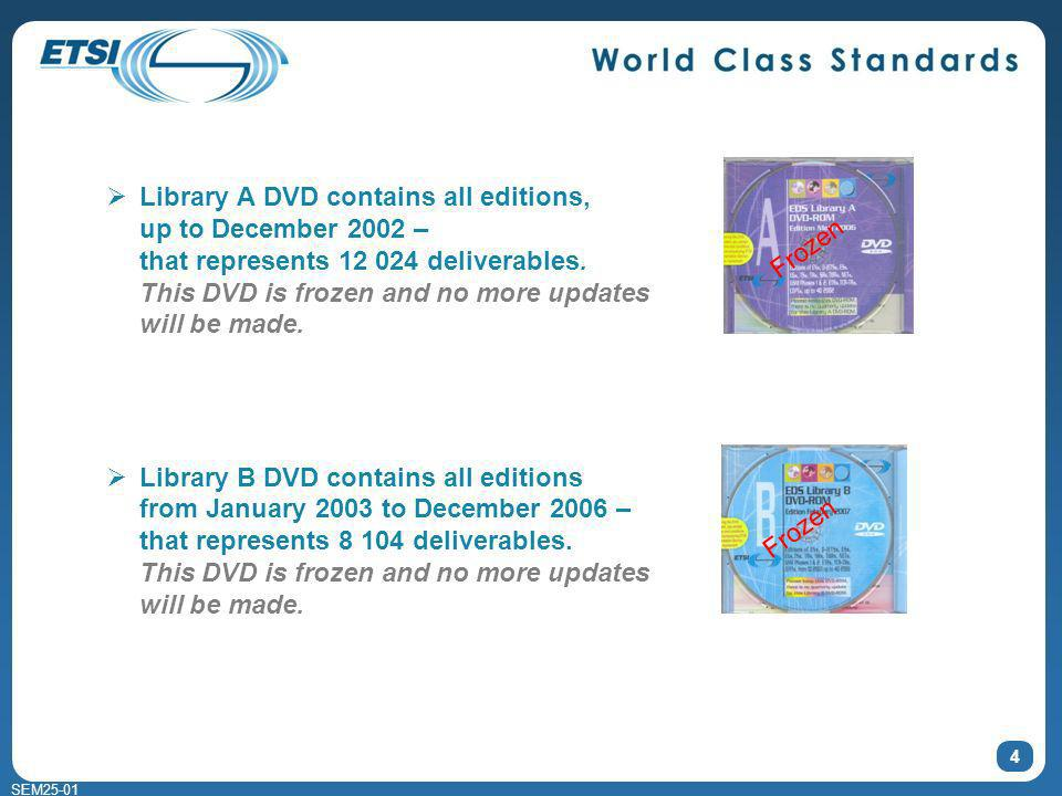 SEM25-01 4 Library A DVD contains all editions, up to December 2002 – that represents 12 024 deliverables.