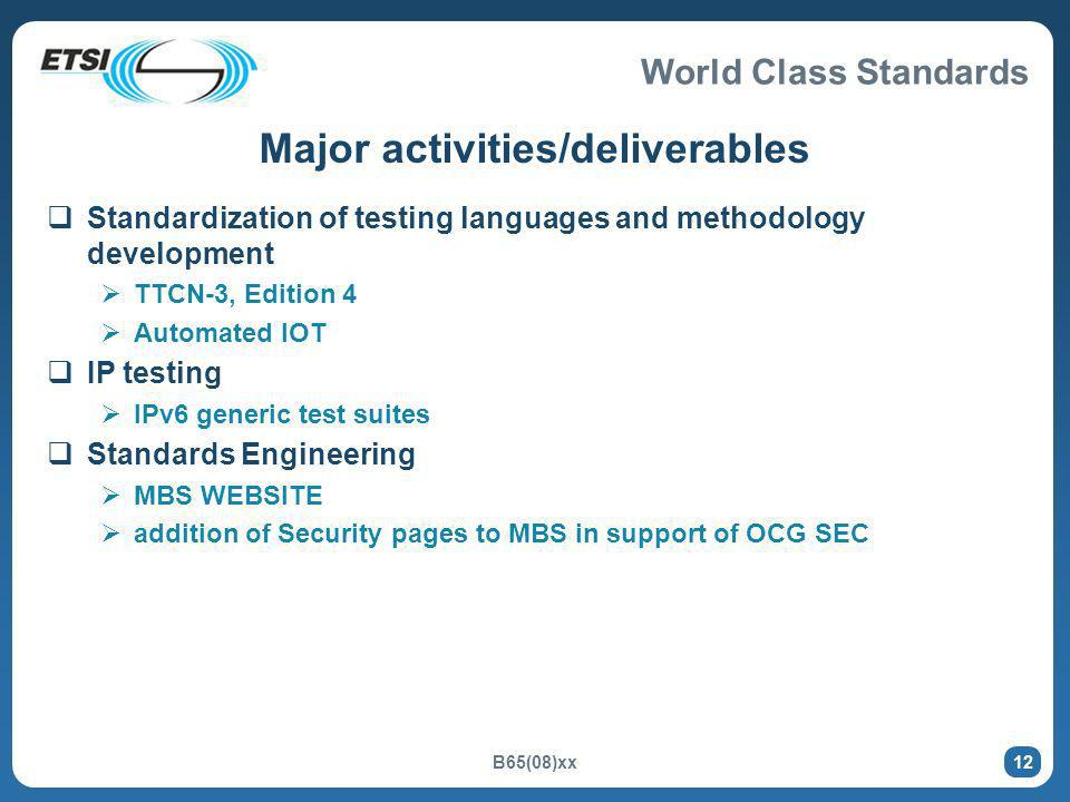 World Class Standards B65(08)xx 12 Major activities/deliverables Standardization of testing languages and methodology development TTCN-3, Edition 4 Au