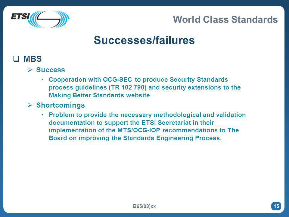 World Class Standards B65(08)xx 15 Successes/failures MBS Success Cooperation with OCG-SEC to produce Security Standards process guidelines (TR 102 79