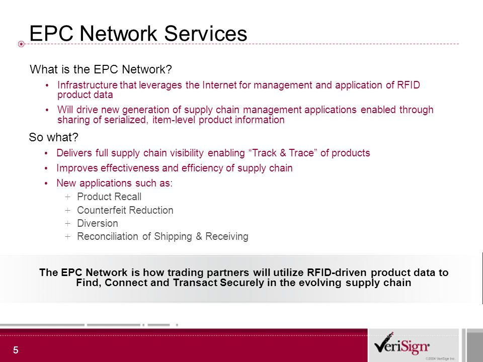 6 EPC Network Services - central to bridging technology and applications EPC Services Value Chain Hardware Middleware/ Device Mgmt EPC Network Services Data & Information Management Strategy/ Consulting Business Applications Enterprise Application Integration Business Process Integration Solution Framework Network Setup and Physics Tags Readers Label Printers Event Monitoring Data filtering Device Health Policy Management Directory Services Discovery Services Authorization/ Authentication Framework Product Catalog and Attribute Management Data Synchronization ETL Services Legacy Application Integration Supply Chain Execution ERP Warehouse Management Store Management Distribution Management System Integration and Solution Delivery