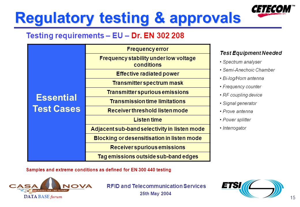 15 DATA BASE forum RFID and Telecommunication Services 25th May 2004 Regulatory testing & approvals Testing requirements – EU – Dr.
