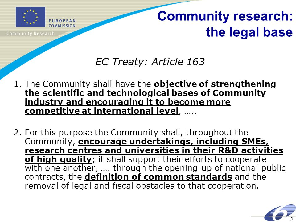 2 Community research: the legal base EC Treaty: Article 163 1.