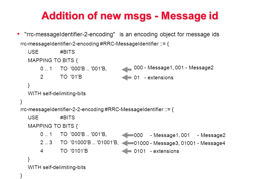 Addition of new msgs - Message id