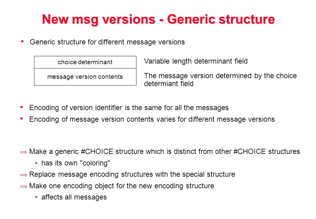 New msg versions - Generic structure Generic structure for different message versions choice determinant message version contents Variable length determinant field The message version determined by the choice determiant field Encoding of version identifier is the same for all the messages Encoding of message version contents varies for different message versions Make a generic #CHOICE structure which is distinct from other #CHOICE structures has its own coloring Replace message encoding structures with the special structure Make one encoding object for the new encoding structure affects all messages