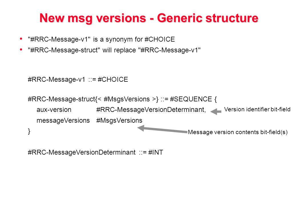 New msg versions - Generic structure