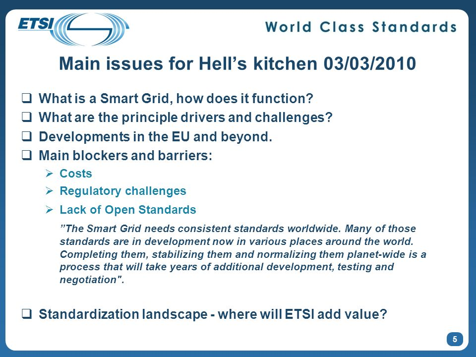 Main issues for Hells kitchen 03/03/2010 What is a Smart Grid, how does it function.