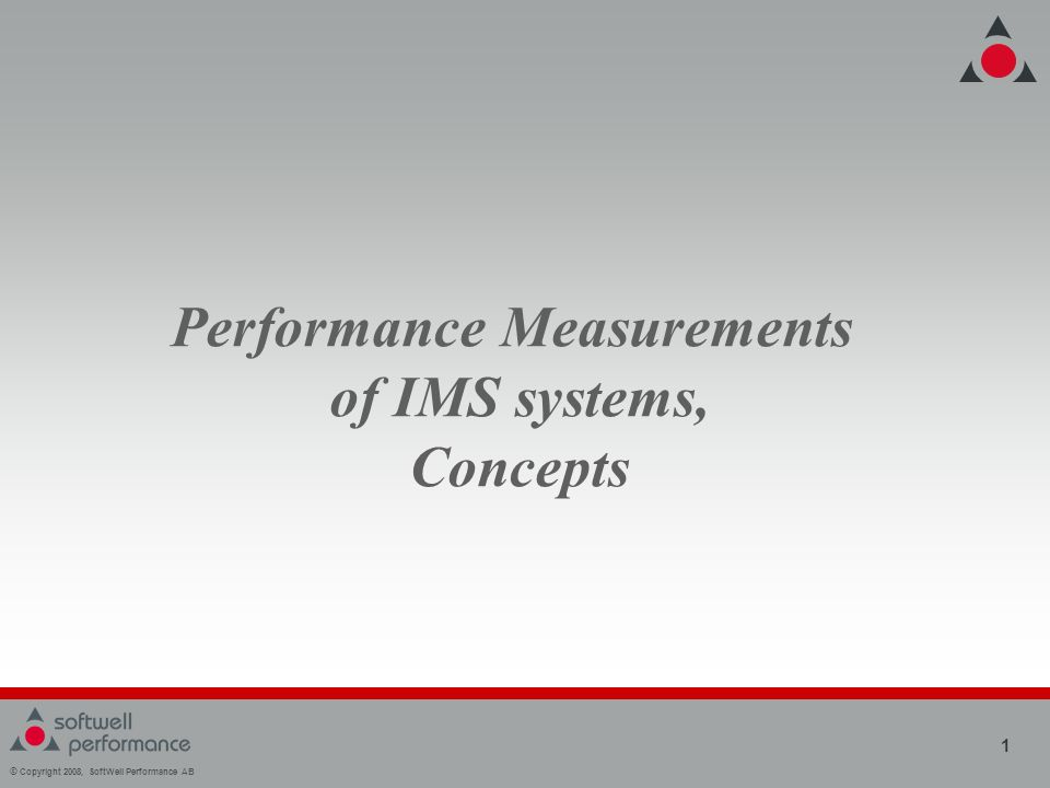 © Copyright 2008, SoftWell Performance AB 1 Performance Measurements of IMS systems, Concepts