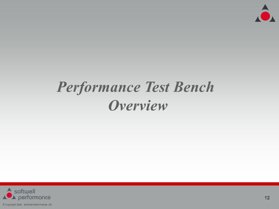 © Copyright 2008, SoftWell Performance AB 12 Performance Test Bench Overview