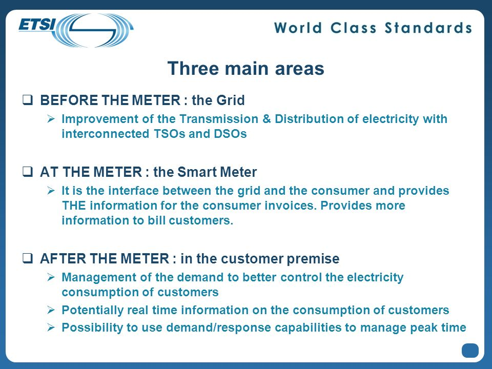 Three main areas BEFORE THE METER : the Grid Improvement of the Transmission & Distribution of electricity with interconnected TSOs and DSOs AT THE ME