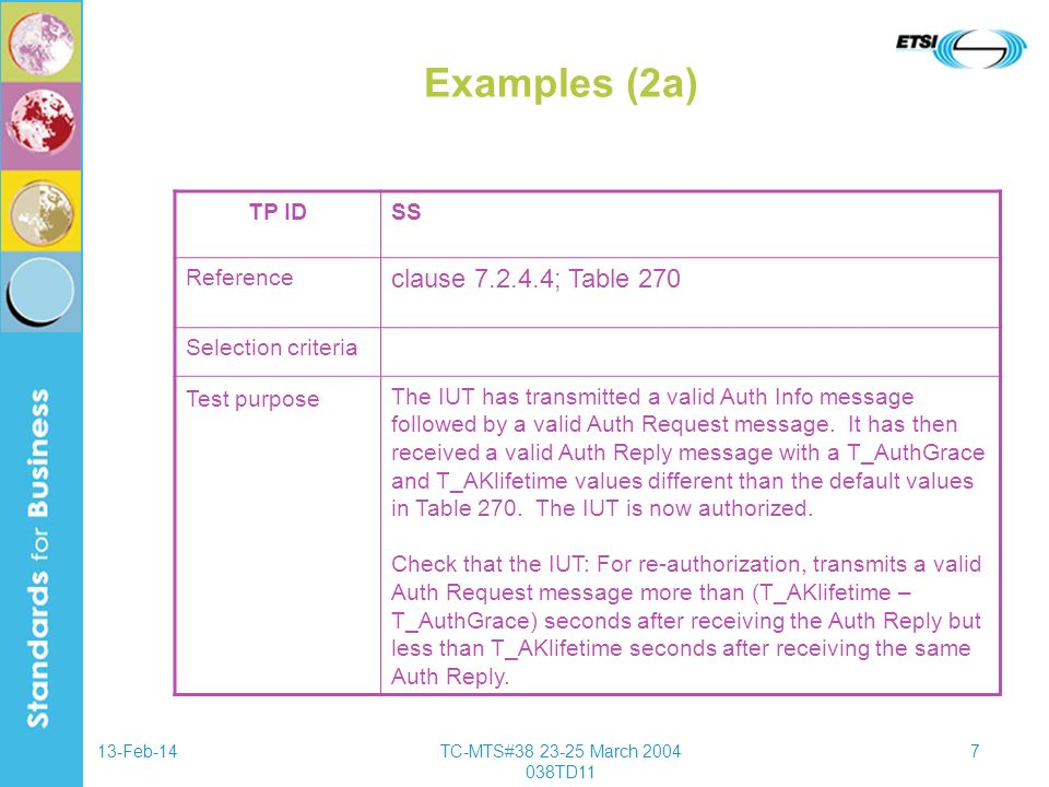 13-Feb-14TC-MTS#38 23-25 March 2004 038TD11 8 Examples (2b) TPID base standard subclause 7.2.4.4; Table 270 PICS status (---) ensure that { when { Negotiate Basic Capabilities is complete and a valid Auth Info message is sent by the IUT and a valid Auth Request message is sent by the IUT and a valid Auth Reply message is received by the IUT with {T_AuthGrace and T_AKLifetime set to non-default values_(Table 270) } } then { IUT sends a valid Auth Request message after (T_AKlifetime – T_authGrace) seconds but before T_AKlifetime seconds }}