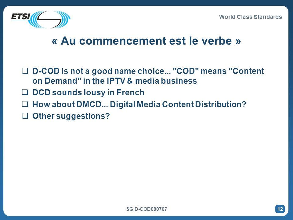 World Class Standards SG D-COD080707 12 « Au commencement est le verbe » D-COD is not a good name choice...