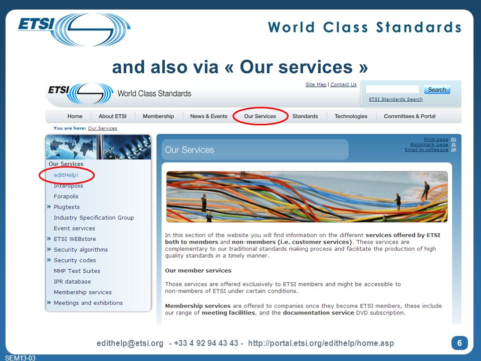 SEM and also via « Our services »