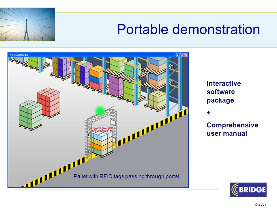 © 2007 Portable demonstration Interactive software package + Comprehensive user manual Pallet with RFID tags passing through portal