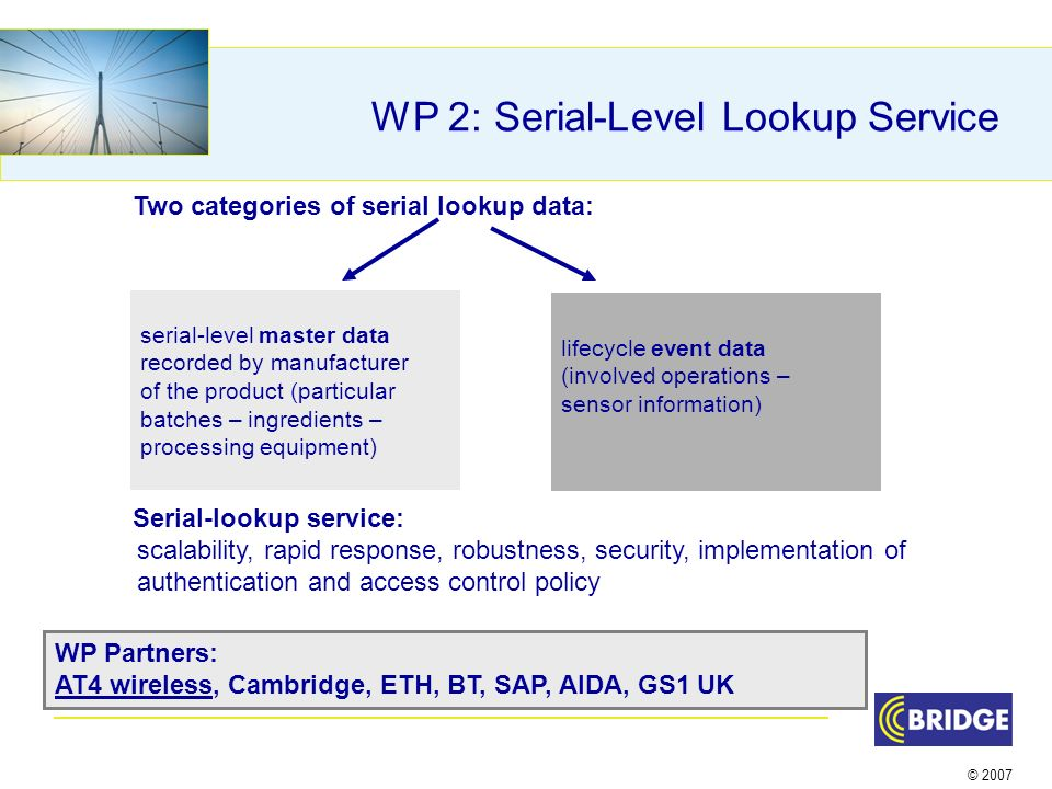 © 2007 WP 2: Serial-Level Lookup Service Two categories of serial lookup data: Serial-lookup service: scalability, rapid response, robustness, security, implementation of authentication and access control policy serial-level master data recorded by manufacturer of the product (particular batches – ingredients – processing equipment) lifecycle event data (involved operations – sensor information) WP Partners: AT4 wireless, Cambridge, ETH, BT, SAP, AIDA, GS1 UK