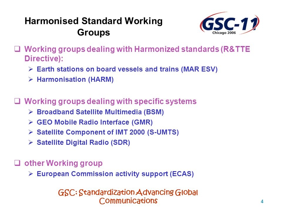 GSC: Standardization Advancing Global Communications 5 WG Earth Stations on board Vessels and Trains MAR ESV (1) Passenger Communications Voice Services Internet Access Video Broadcast ATM Services Global Newspaper Delivery Cellular Services Operational Services Enterprise Data Lan/Wan Capabilities Remote Equipment Monitoring Purchasing/Inventory Distance Learning/Training Customs Clearance Responsibility of the WG is to produce Harmonised Standards for all type of Earth Stations installed on ship or vessel (ESV), as well as on trains (EST) operating in FSS frequencies