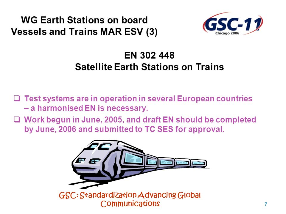GSC: Standardization Advancing Global Communications 8 Working Group Harmonisation HARM (1) Responsible for: Maintenance of Harmonised Standards under the R&TTE Directive (99/5 EC).