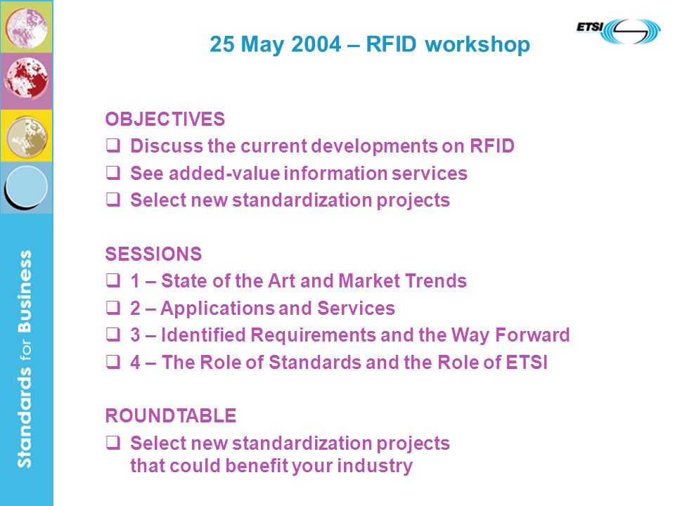 25 May 2004 – RFID workshop OBJECTIVES Discuss the current developments on RFID See added-value information services Select new standardization projects SESSIONS 1 – State of the Art and Market Trends 2 – Applications and Services 3 – Identified Requirements and the Way Forward 4 – The Role of Standards and the Role of ETSI ROUNDTABLE Select new standardization projects that could benefit your industry