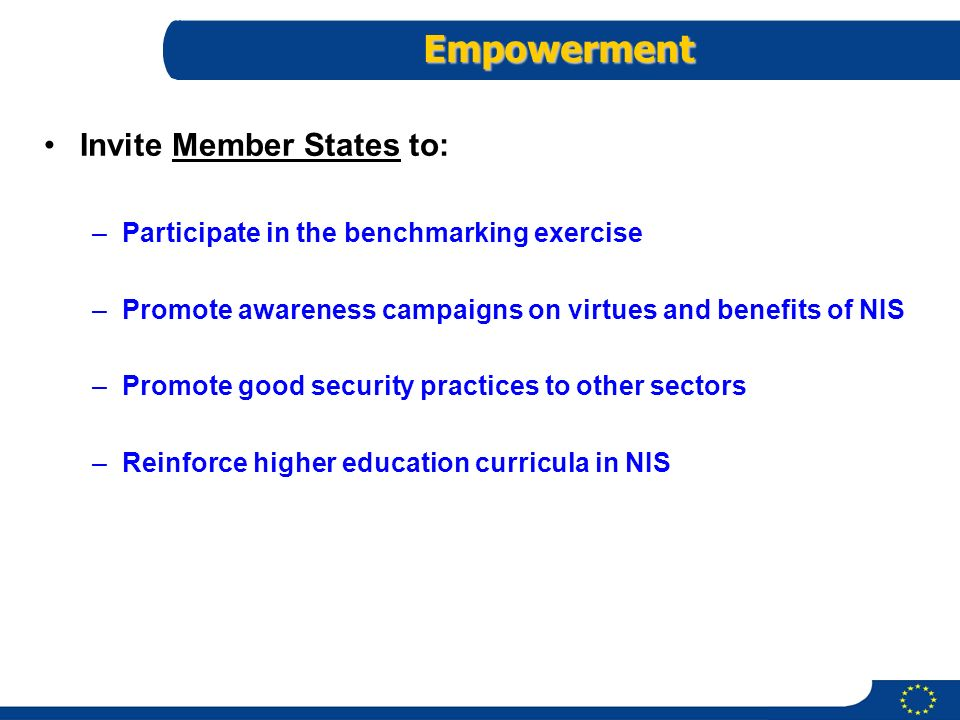 13 JB/050103/VR 13 Empowerment Invite Member States to: –Participate in the benchmarking exercise –Promote awareness campaigns on virtues and benefits