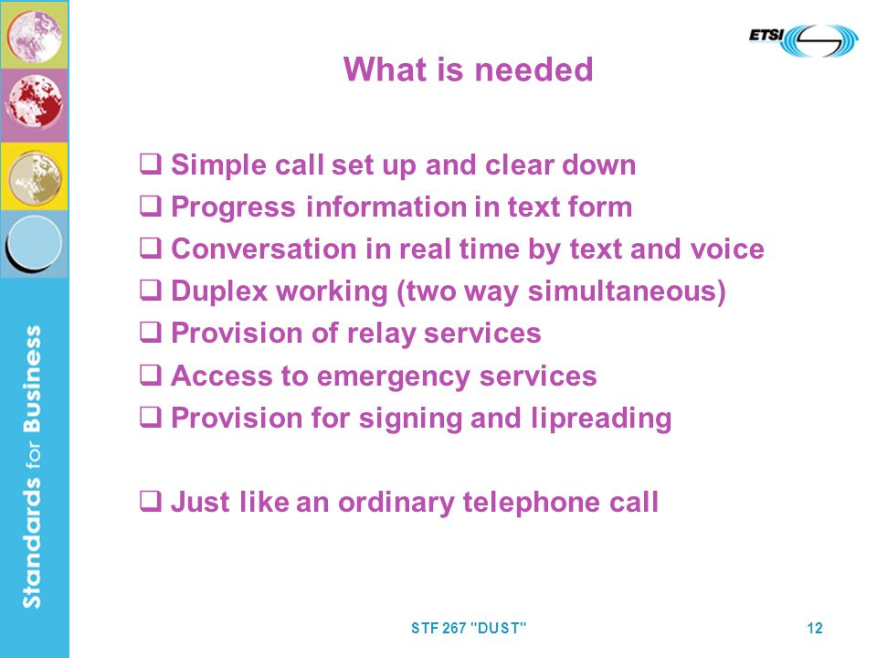 STF 267 DUST 12 What is needed Simple call set up and clear down Progress information in text form Conversation in real time by text and voice Duplex working (two way simultaneous) Provision of relay services Access to emergency services Provision for signing and lipreading Just like an ordinary telephone call