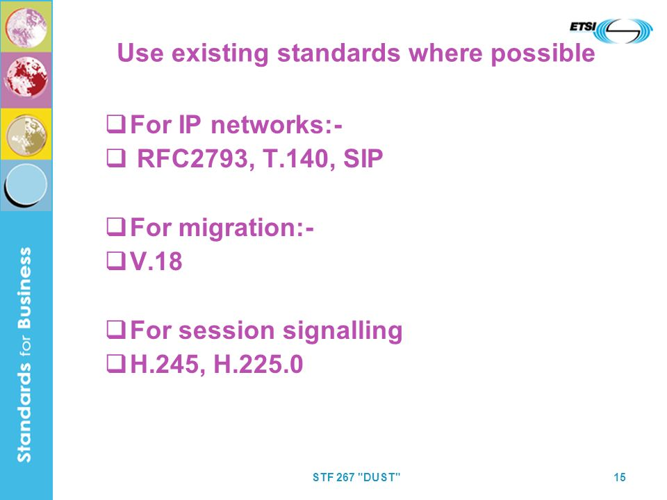 STF 267 DUST 15 Use existing standards where possible For IP networks:- RFC2793, T.140, SIP For migration:- V.18 For session signalling H.245, H.225.0