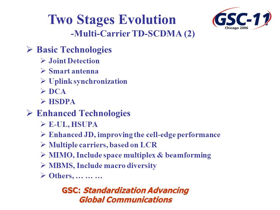 GSC: Standardization Advancing Global Communications Basic Technologies Joint Detection Smart antenna Uplink synchronization DCA HSDPA Enhanced Technologies E-UL, HSUPA Enhanced JD, improving the cell-edge performance Multiple carriers, based on LCR MIMO, Include space multiplex & beamforming MBMS, Include macro diversity Others, … … … Two Stages Evolution -Multi-Carrier TD-SCDMA (2)
